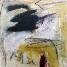 Bye Bye Blackbird #2<br>2014<br>19 1/2 x19 1/2 <br>Oil, oil stick, encaustic, on wood panel&lt;br&gt;&lt;em&gt;&lt;/em&gt;