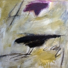Bye Bye Blackbird #1<br>2014<br>19 1/2 x19 1/2 <br>Oil, oil stick, encaustic, on wood panel&lt;br&gt;&lt;em&gt;&lt;/em&gt;