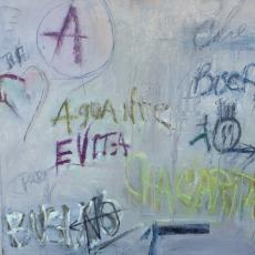 Evita<br>2009<br>24 x 24<br>Oil, oil stick, on canvas&lt;br&gt;&lt;em&gt;&lt;/em&gt;