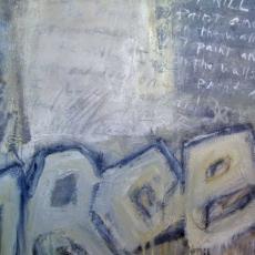 Grafitti/Calle Rosetti<br>2008<br>36 x 42<br>Oil, mixed media, on canvas&lt;br&gt;&lt;em&gt;&lt;/em&gt;