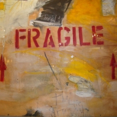 Handle with Care<br>2012<br>48 x 54<br>Oil, mixed media, on salvaged shipping crate<br><em></em>