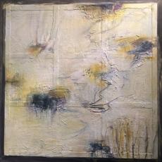 Lily Pond #2<br>2016<br>38 3/4 x 38 3/4<br>Oil, encaustic, on salvaged steel&lt;br&gt;&lt;em&gt;&lt;/em&gt;
